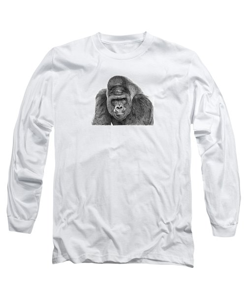 042 - Gomer The Silverback Gorilla Long Sleeve T-Shirt by Abbey Noelle