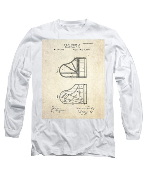 1878 Steinway Grand Piano Forte Patent Art S. 1 Long Sleeve T-Shirt by Gary Bodnar