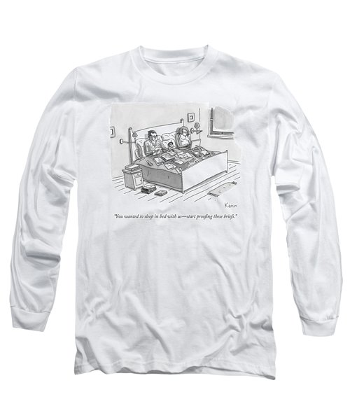 A Boy Lays In Bed Between His Parents Long Sleeve T-Shirt
