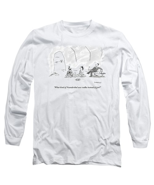 A Caveman And Cavewoman Sit On The Floor Long Sleeve T-Shirt