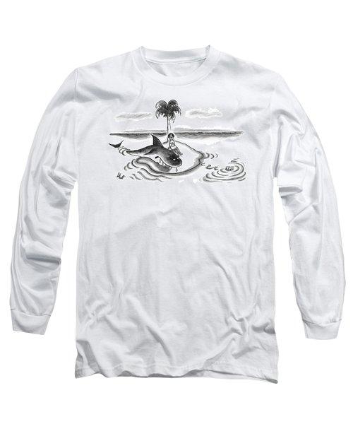 A Woman Is Seen On A Deserted Island With A Shark Long Sleeve T-Shirt
