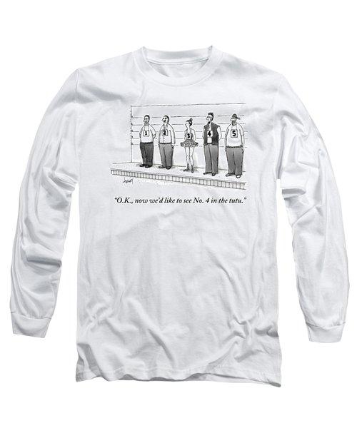 A Woman Wearing A Tutu Is Seen Standing Long Sleeve T-Shirt