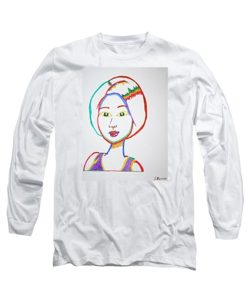 Long Sleeve T-Shirt featuring the painting Anime Asian Girl by Stormm Bradshaw