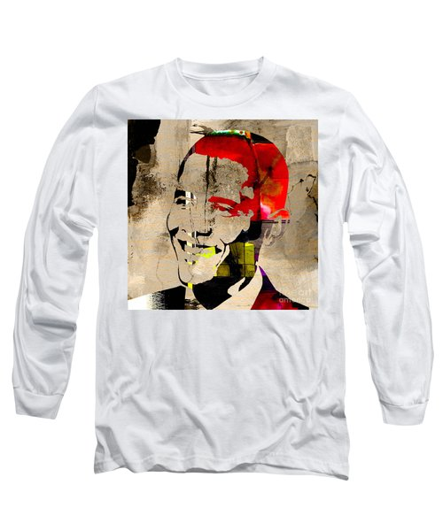 Long Sleeve T-Shirt featuring the photograph Barack Obama by Marvin Blaine