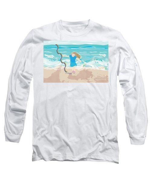 Long Sleeve T-Shirt featuring the digital art Beach Rainbow Girl by Kim Prowse