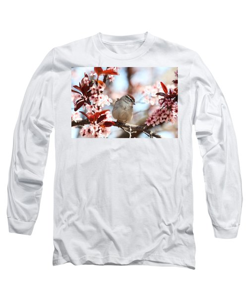 Long Sleeve T-Shirt featuring the photograph Beautiful Sparrow by Trina  Ansel