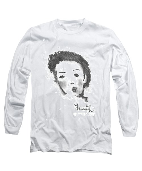 Long Sleeve T-Shirt featuring the drawing Bubble Gum by Laurie L