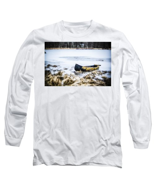 Canoe At The Frozen Lake Long Sleeve T-Shirt