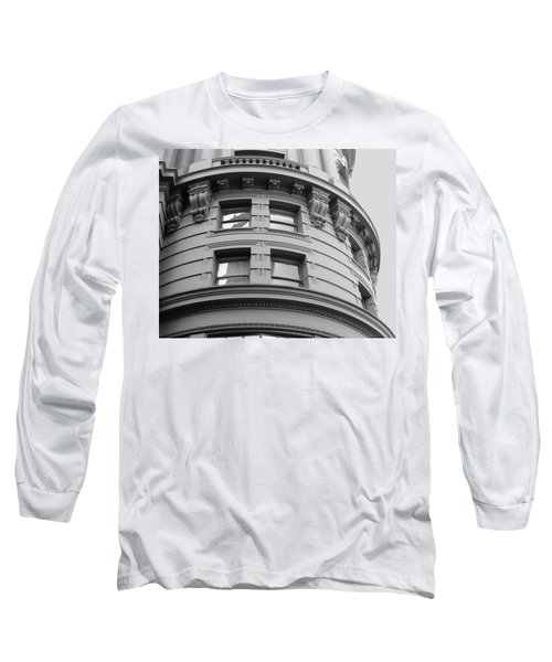 Long Sleeve T-Shirt featuring the photograph Circular Building Details San Francisco Bw by Connie Fox