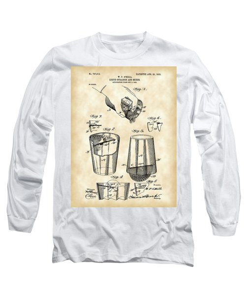 Cocktail Mixer And Strainer Patent 1902 - Vintage Long Sleeve T-Shirt by Stephen Younts