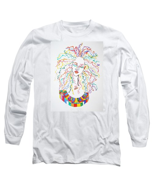 Long Sleeve T-Shirt featuring the painting Dreadlocks Piano Goddess by Stormm Bradshaw