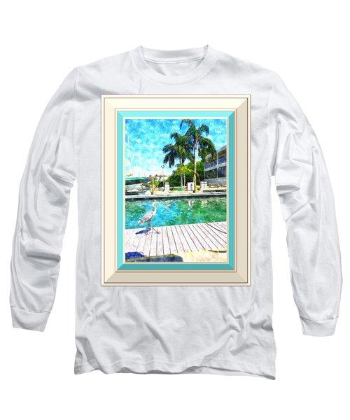 Dry Dock Bird Walk - Digitally Framed Long Sleeve T-Shirt