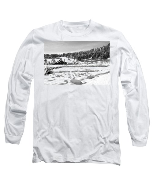 Long Sleeve T-Shirt featuring the photograph Evergreen Lake House Winter by Ron White