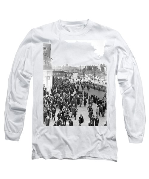 Fans Leaving Yankee Stadium. Long Sleeve T-Shirt by Underwood Archives
