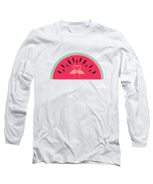 Flamingo Watermelon Long Sleeve T-Shirt by Susan Claire