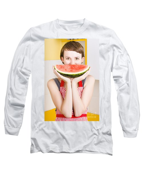 Funny Woman With Juicy Fruit Smile Long Sleeve T-Shirt by Jorgo Photography - Wall Art Gallery