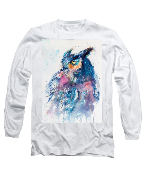 Great Horned Owl Long Sleeve T-Shirt by Kovacs Anna Brigitta