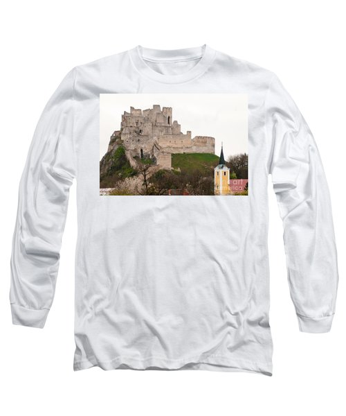 Long Sleeve T-Shirt featuring the photograph Hrad Beckov - Castle by Les Palenik