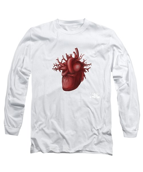 Human Heart Medical Diagram Isolated On White Long Sleeve T-Shirt