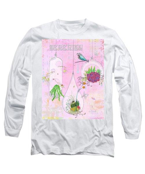 Inspirational Dragonfly Terrarium Original Painting Succulent Art By Megan Duncanson Long Sleeve T-Shirt