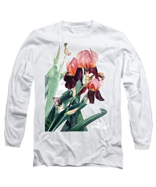 Watercolor Of A Pink And Maroon Tall Bearded Iris I Call Iris La Forza Del Destino Long Sleeve T-Shirt