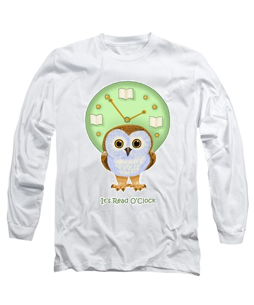 Long Sleeve T-Shirt featuring the painting It's Read O'clock by Leena Pekkalainen