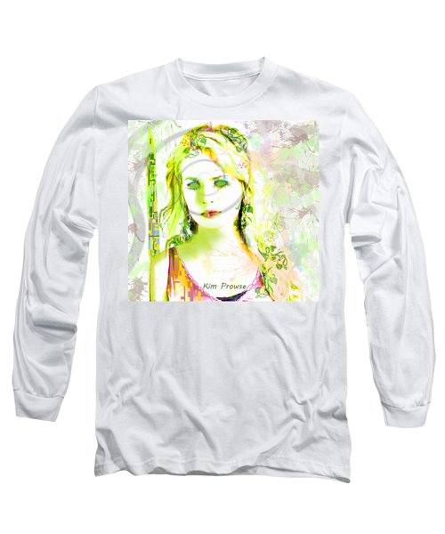 Long Sleeve T-Shirt featuring the digital art Lily Lime by Kim Prowse