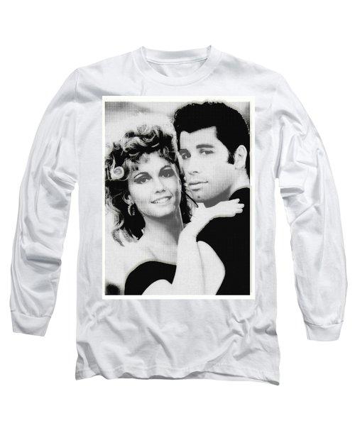 Olivia Newton John And John Travolta In Grease Collage Long Sleeve T-Shirt