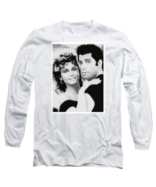 Olivia Newton John And John Travolta In Grease Collage Long Sleeve T-Shirt
