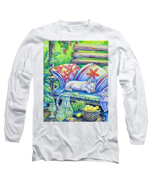 Pig On A Porch Long Sleeve T-Shirt by Gail Butler