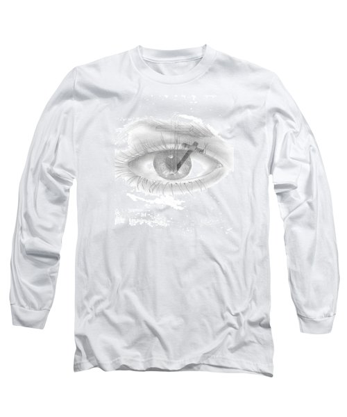 Long Sleeve T-Shirt featuring the drawing Plank In Eye by Terry Frederick