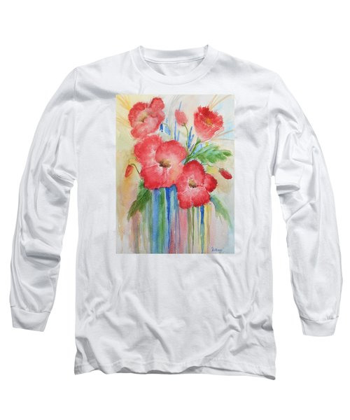 Poppies Long Sleeve T-Shirt by Christine Lathrop