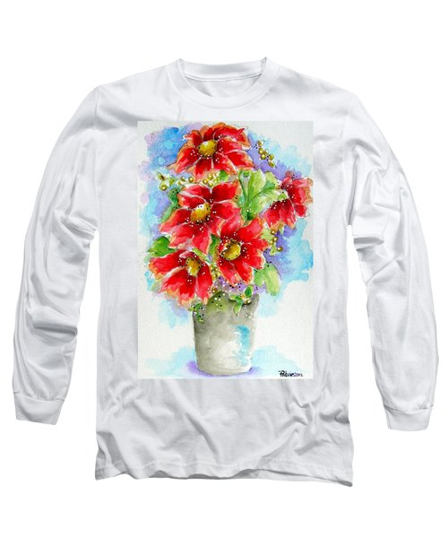 Long Sleeve T-Shirt featuring the painting Red Flowers by Patrice Torrillo