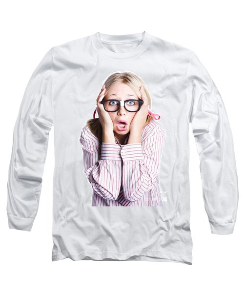 Shocked Business Woman On White Long Sleeve T-Shirt