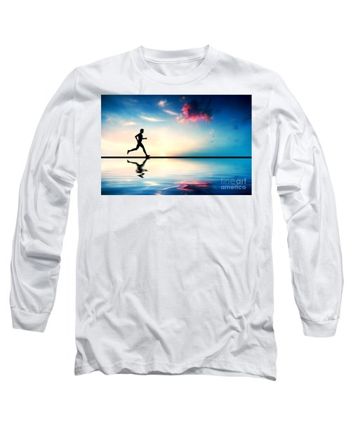 Silhouette Of Man Running At Sunset Long Sleeve T-Shirt