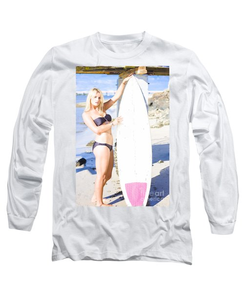 Sport Portrait Of Sexy Blond Surfer Babe Long Sleeve T-Shirt