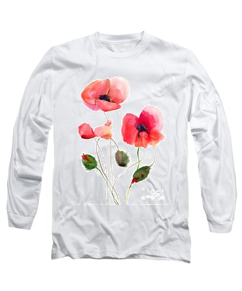 Stylized Poppy Flowers Illustration Long Sleeve T-Shirt