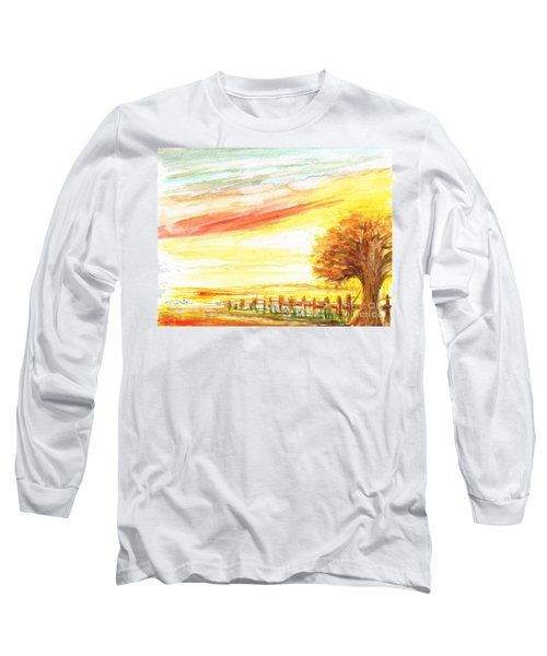 Long Sleeve T-Shirt featuring the painting Sunset by Teresa White