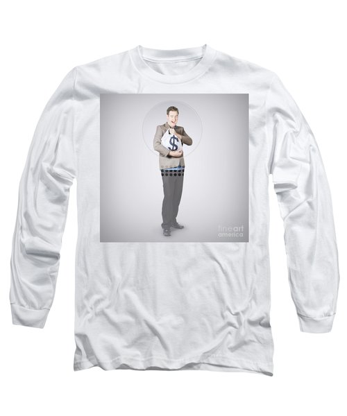 Surprised Business Man Holding Money Bag In Bank Long Sleeve T-Shirt