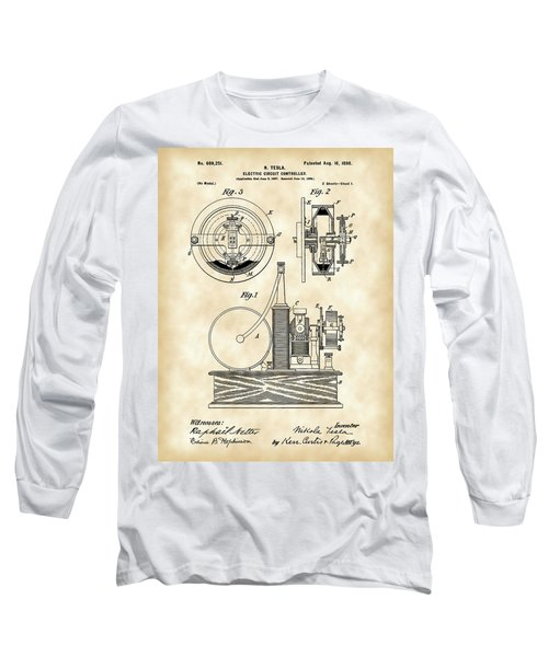 Tesla Electric Circuit Controller Patent 1897 - Vintage Long Sleeve T-Shirt by Stephen Younts
