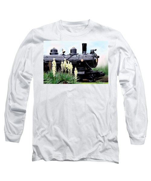 The Black Steam Engine Long Sleeve T-Shirt by Bonnie Willis