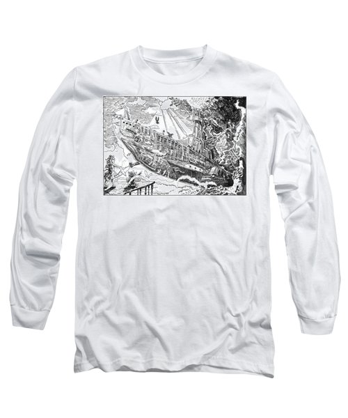 Long Sleeve T-Shirt featuring the drawing The Flying Submarine by Reynold Jay