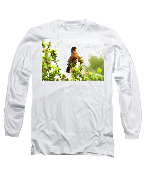 Long Sleeve T-Shirt featuring the photograph The Robin Sings by John Freidenberg