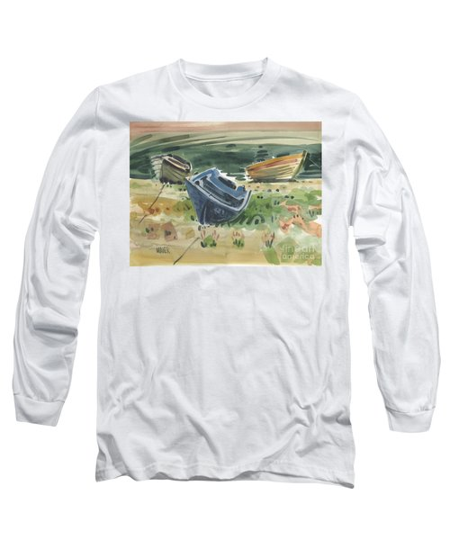 Long Sleeve T-Shirt featuring the painting Three Boats by Donald Maier