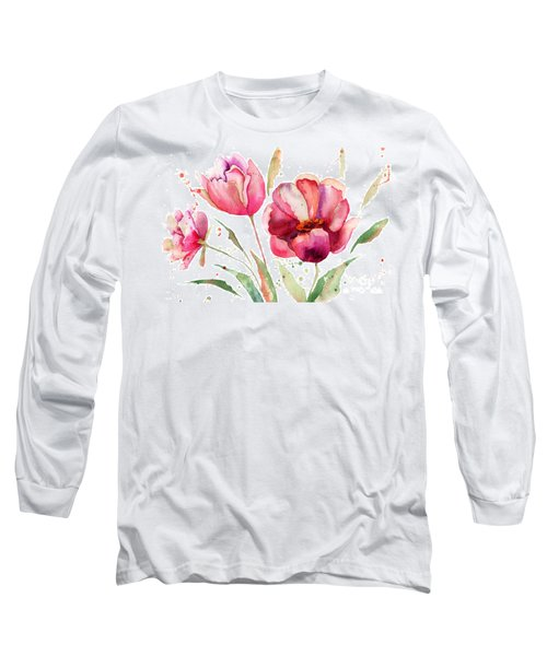 Three Tulips Flowers  Long Sleeve T-Shirt