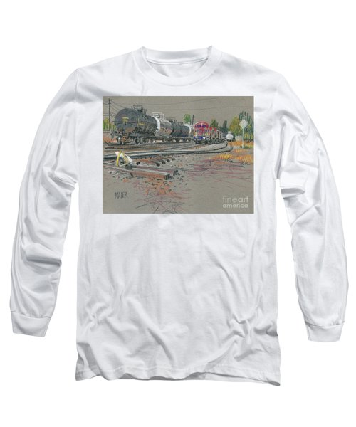 Long Sleeve T-Shirt featuring the drawing Train's Coming by Donald Maier