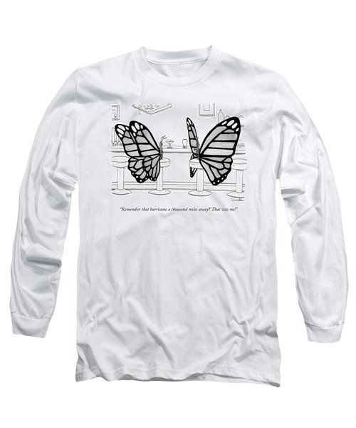 Two Butterflies Talking In A Bar Long Sleeve T-Shirt