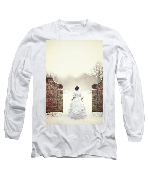 Victorian Woman In Snow Long Sleeve T-Shirt by Lee Avison