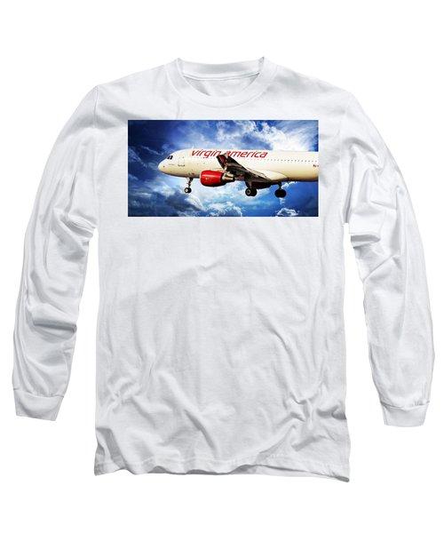 Flight Long Sleeve T-Shirt featuring the photograph Virgin America Mach Daddy by Aaron Berg