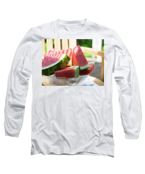 Watermelon Wedges In A Bowl Of Ice Cubes Long Sleeve T-Shirt